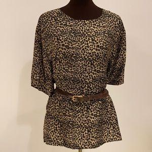 Stunt woman leopard silk blouse size 2x